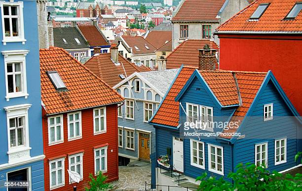 High angle view of Red and blue wooden houses with tiled roofs, Bergen, Norway