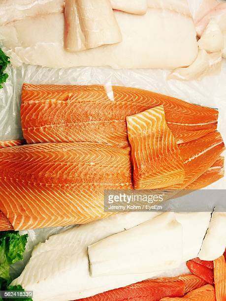 High Angle View Of Red And White Fish Fillet