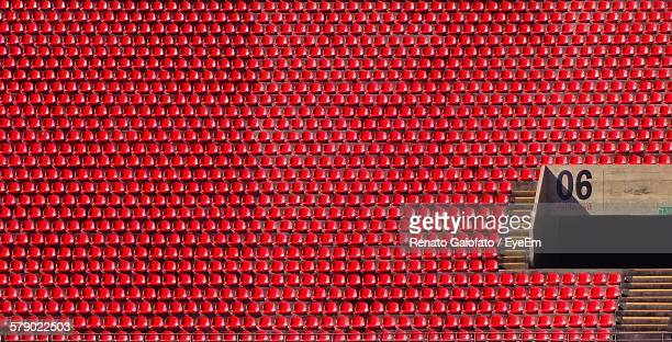 High Angle View Of Red Bleachers