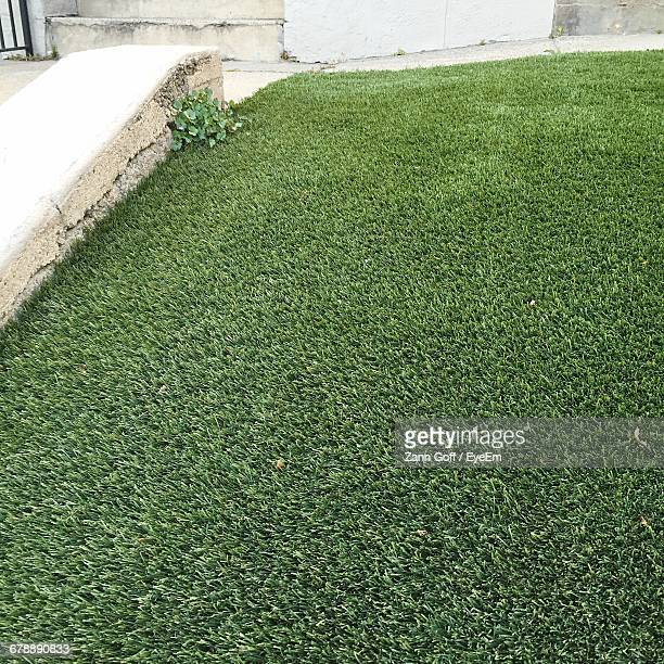 High Angle View Of Retaining Wall By Artificial Turf
