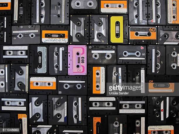 High angle view of retro audio cassettes