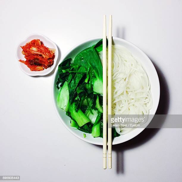 High Angle View Of Rice Noodles In Plate