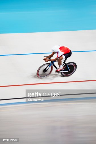 High angle view of rider riding bicycle : Stock Photo