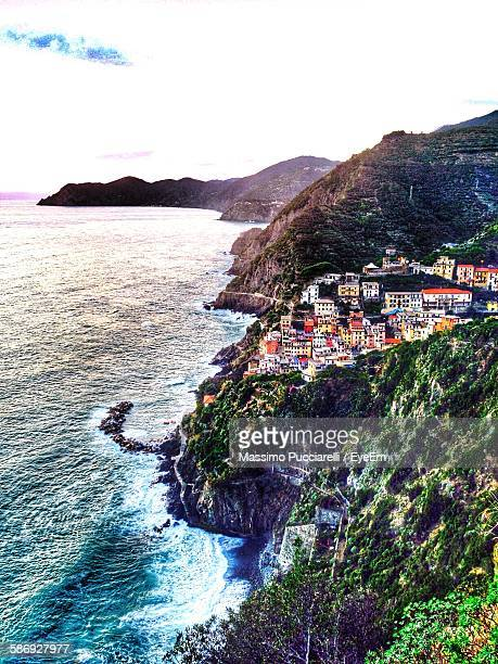 High Angle View Of Riomaggiore By Sea Against Sky