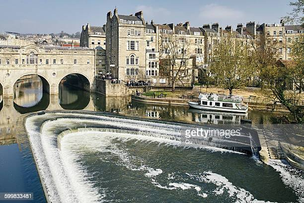 High angle view of river Avon and Pulteney bridge, Bath, UK