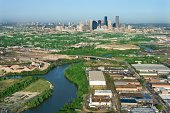 High angle view of river in Houston, Texas
