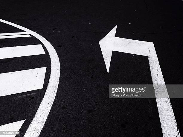 High Angle View Of Road Markings On Street