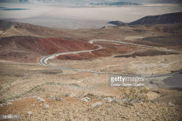High Angle View Of Road On Landscape Against Sky