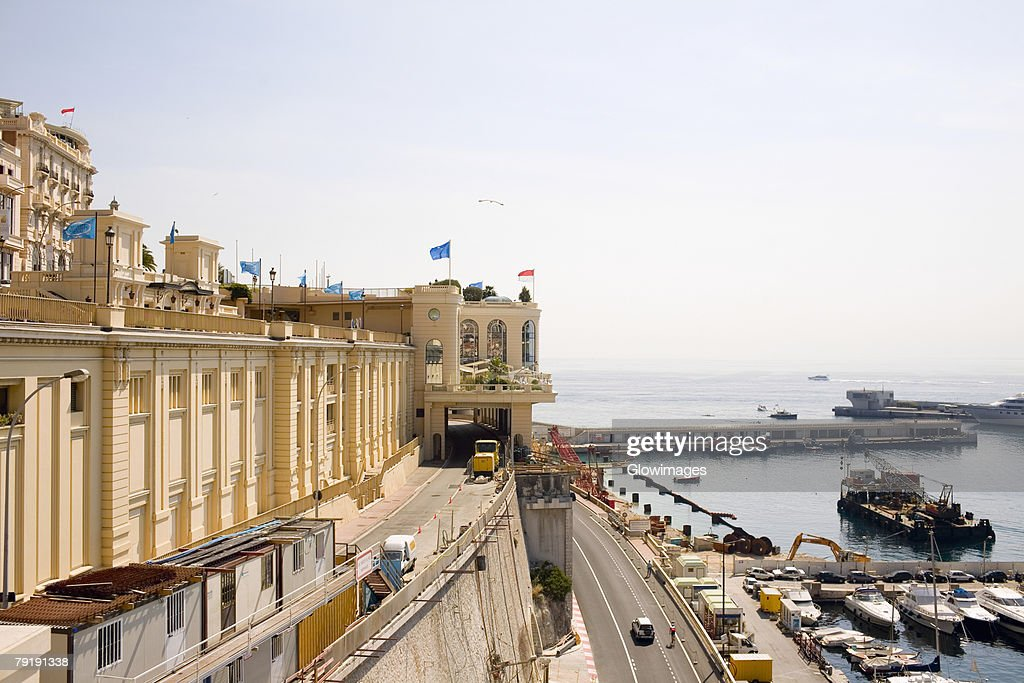 High angle view of road passing near a harbor, Monte Carlo, Monaco : Stock Photo