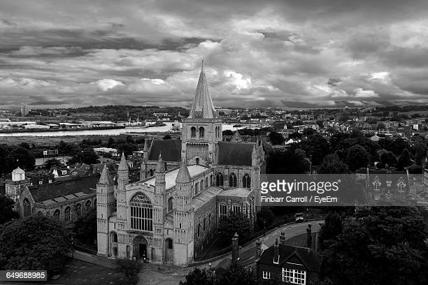 High Angle View Of Rochester Cathedral Against Cloudy Sky