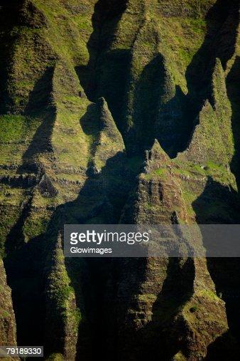 High angle view of rock formations, Na Pali Coast State Park, Kauai, Hawaii Islands, USA : Foto de stock