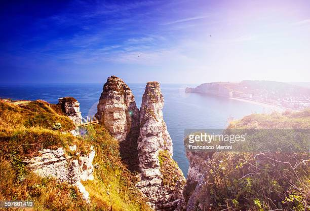 High angle view of rock formations on coast, Normandy, France
