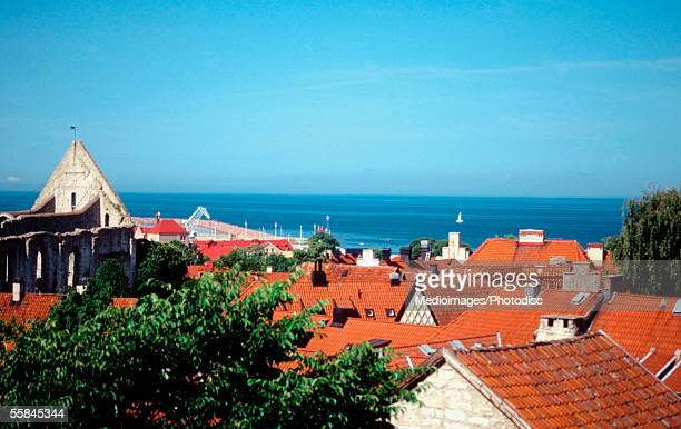 High angle view of rooftops of buildings in a city, Visby, Gotland Island, Sweden