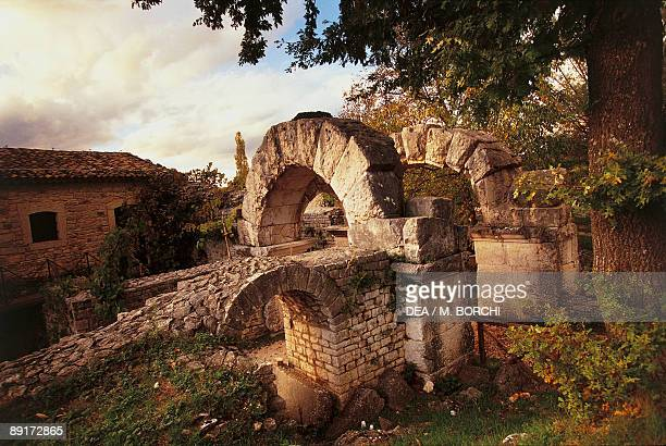 High angle view of ruins of a building Saepinum Sepino Molise Italy