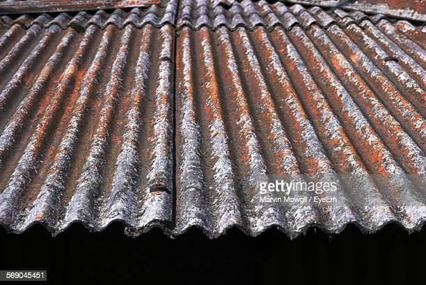 High Angle View Of Rusty Corrugated Iron
