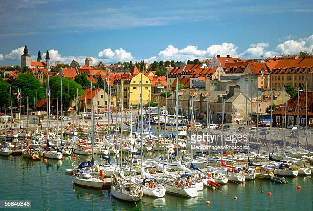 High angle view of sailboats docked at a harbor, Visby, Gotland Island, Sweden