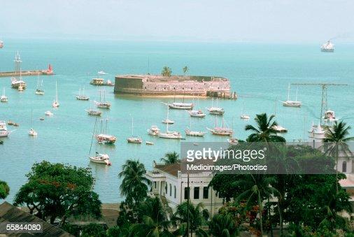 High angle view of sailboats near Sao Marcelo Fort, Salvador de Bahia, Brazil