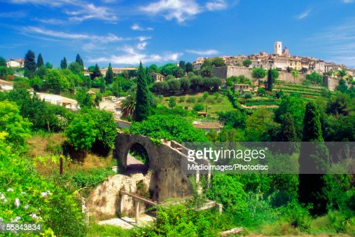 High angle view of Saint Paul de Vence, French Riviera, France : Stock Photo