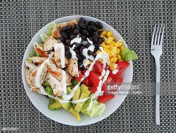High Angle View Of Salad Served In Bowl