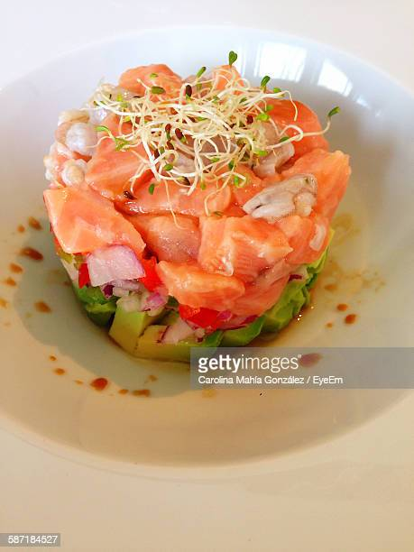 High Angle View Of Salmon Ceviche Served In Bowl