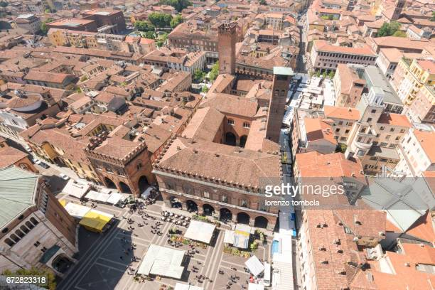 High angle view of San Antonio Square from Torrazzo bell tower, Cremona