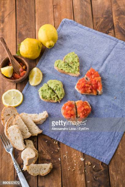 High Angle View Of Sandwich On Table