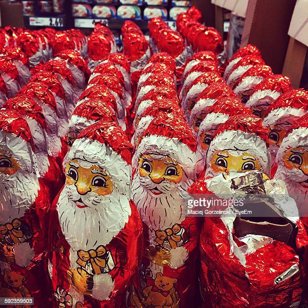 High Angle View Of Santa Claus Chocolates In Store