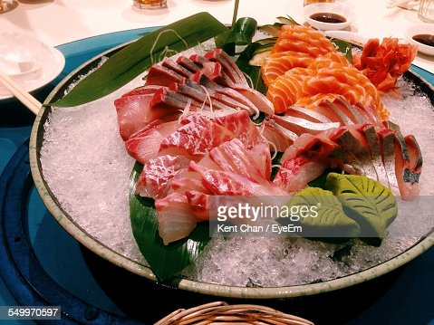 High Angle View Of Sashimi On Ice