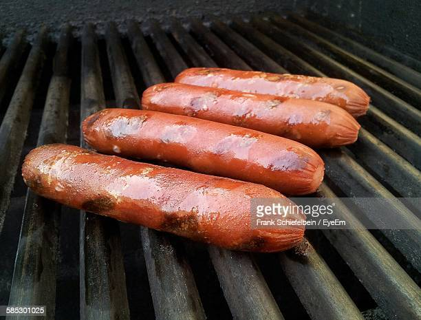 High Angle View Of Sausages On Barbeque Grill
