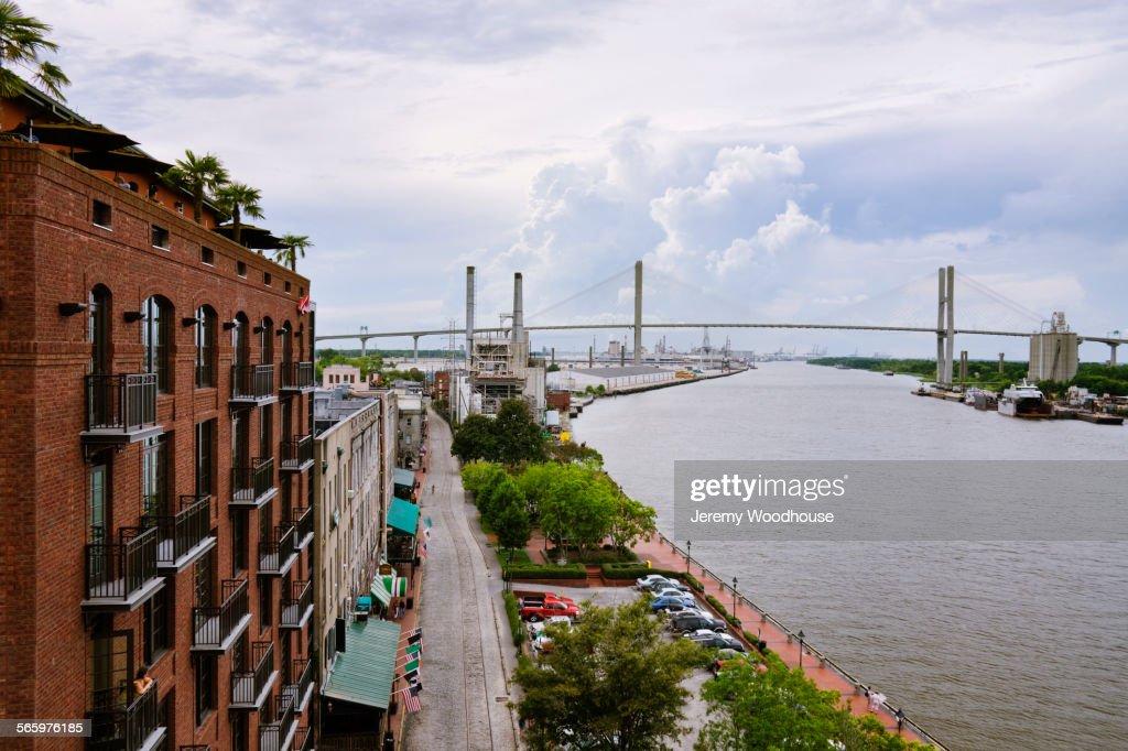 High angle view of Savannah city waterfront, Georgia, United States