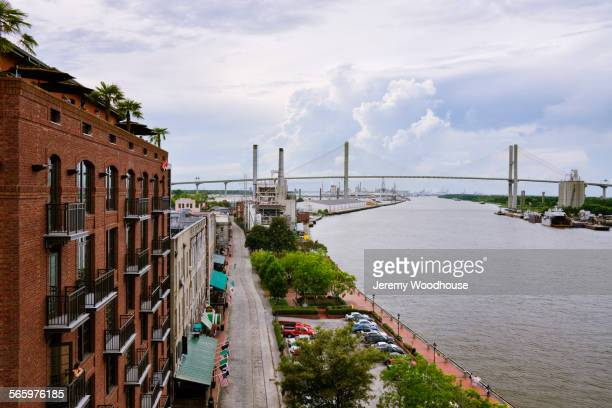 High angle view of Savannah city waterfront, Georgia, United States