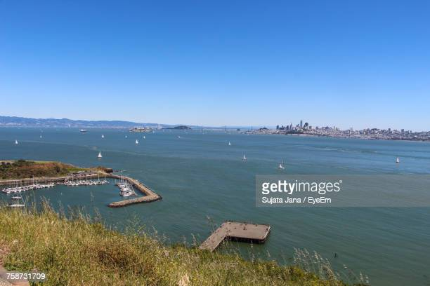 High Angle View Of Sea Against Clear Blue Sky