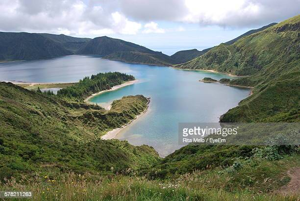 High Angle View Of Sea Amidst Mountain Ranges In Azores