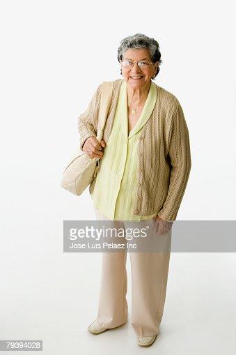 High angle view of senior Hispanic woman