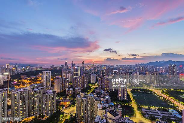 High angle view of shenzhen skyline ni night
