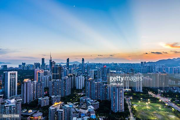 high angle view of shenzhen skyline