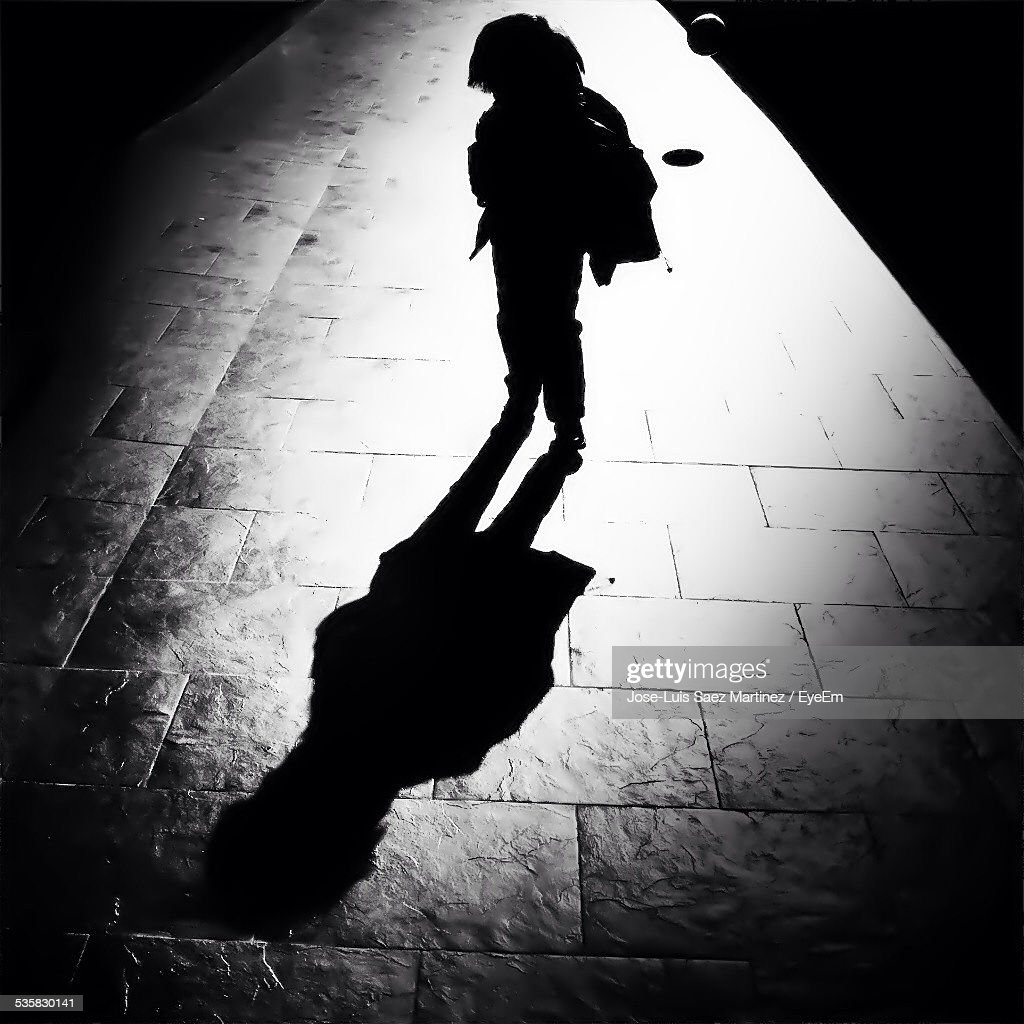 High Angle View Of Silhouette Child On Street During Sunny Day