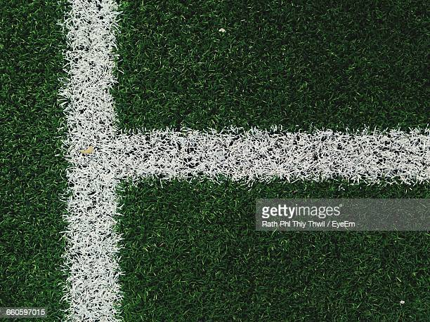 High Angle View Of Single Line On Soccer Field