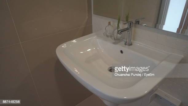 High Angle View Of Sink In Bathroom