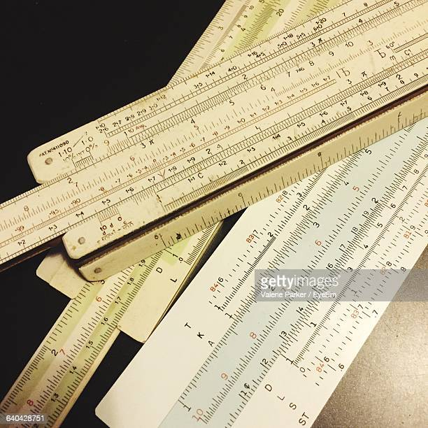 High Angle View Of Slide Rule