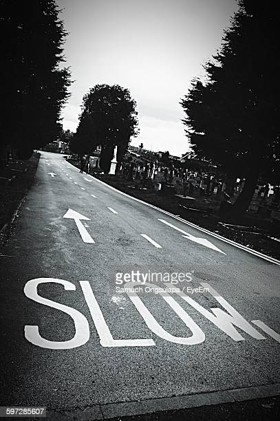 High Angle View Of Slow Sign On Road