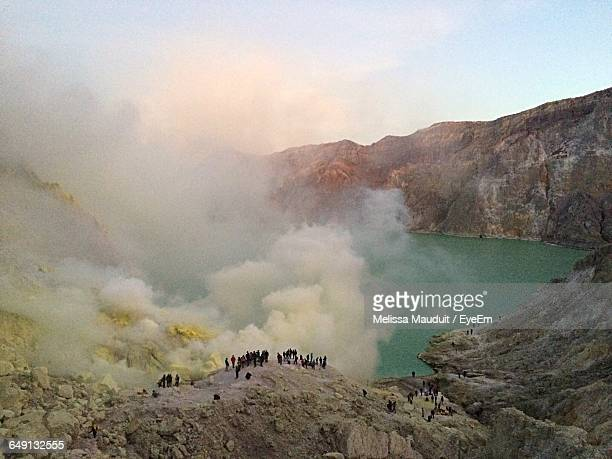 High Angle View Of Smoke Emitting From Rock Formations At Ijen