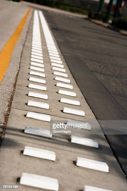 High angle view of speed bumps on the road, Orlando, Florida, USA