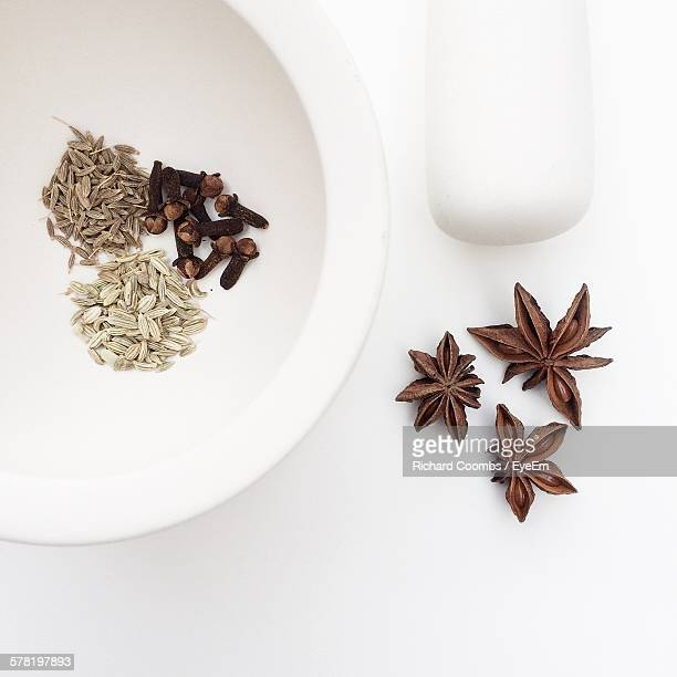 High Angle View Of Spices With Mortar And Pestle On White Background