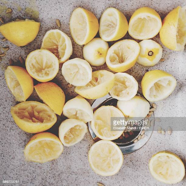 High Angle View Of Squeezed Lemons In Sink