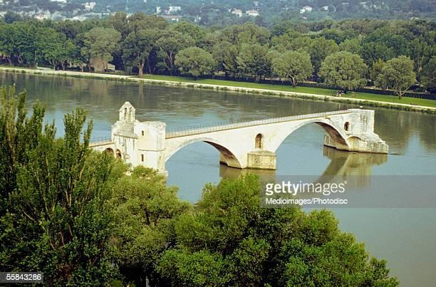 High angle view of St. Benezet's Bridge, Rhone River, Avignon, Provence-Alpes-Cote d'Azur, France