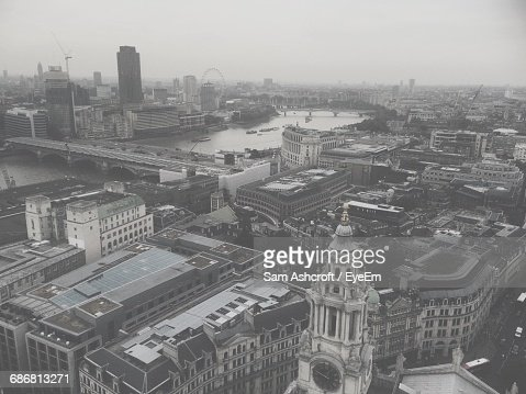 High Angle View Of St Paul Cathedral Clock Tower And Cityscape Against Clear Sky