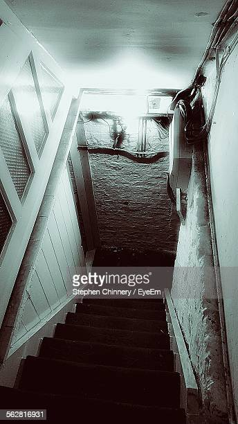 High Angle View Of Staircase In Basement