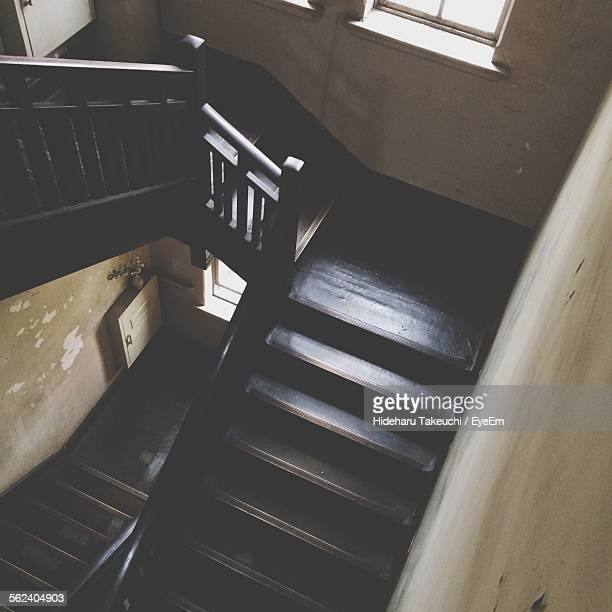 High Angle View Of Staircase Of House