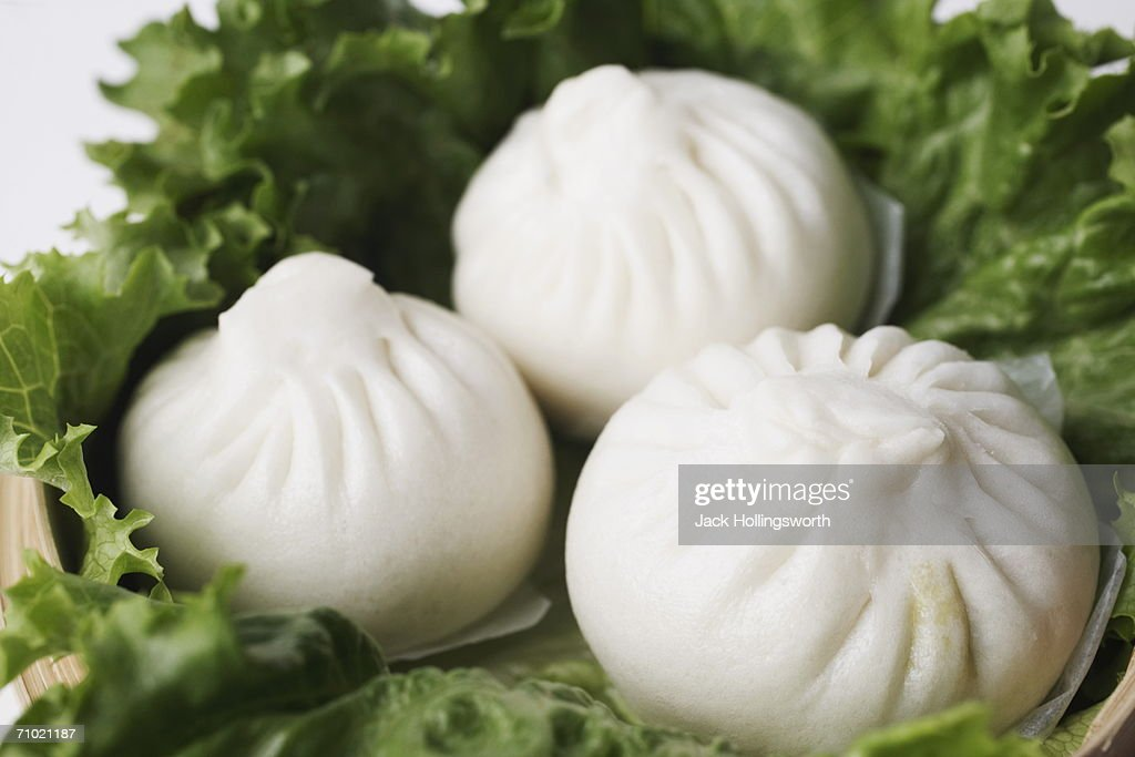 High angle view of steamed dumplings : Stock Photo